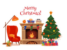 Christmas Room Interior In Colorful Cartoon Flat Style