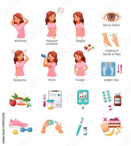 Diabetes Cartoon Icons Set