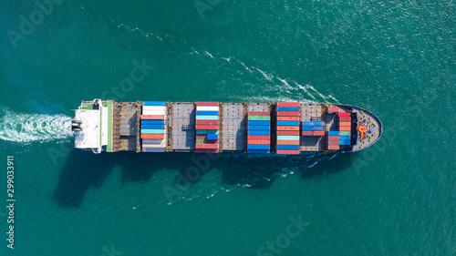 Fényképezés Aerial top view of Large container cargo ship in export and import business and