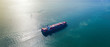 canvas print picture - Aerial top view of Large container cargo ship in export and import business and logistics at sea