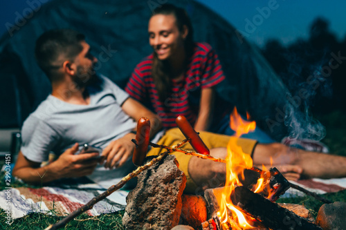 Fotografie, Obraz  friends on night camping by the camping fire