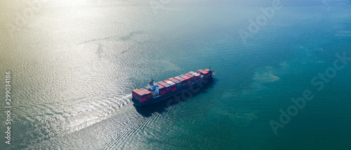 Cuadros en Lienzo Aerial top view of Large container cargo ship in export and import business and