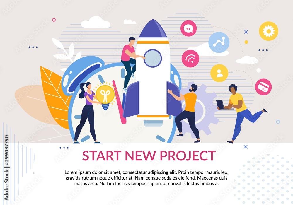 Fototapeta Start New Project Motivation Poster in Flat Design