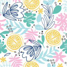 Abstract Floral Background With Oranges