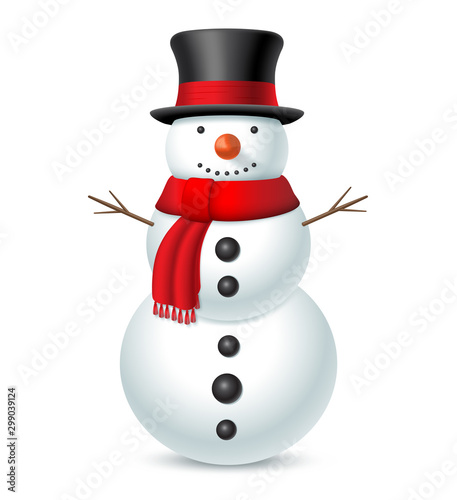 Fotografie, Obraz Snowman with hat and scarf isolated on white background