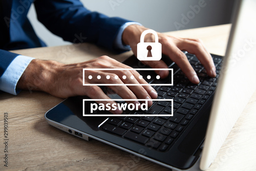 Cuadros en Lienzo Data protection and cyber security concept