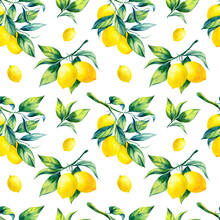 A Seamless Lemon Pattern On Wh...