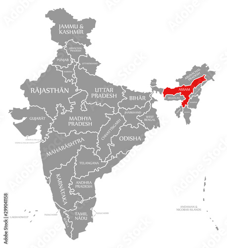 Assam red highlighted in map of India Wallpaper Mural