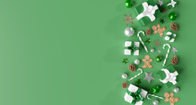 Christmas White Background With Christmas Balls And Decoration - 3d Rendering