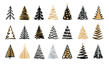 Hand Drawn Doodle Christmas Tree Set. Gold Silver Color Sketch Style Holiday Trees. New Year Vector Symbol. Simple Artistic Line Stroke. Many Group Silhouette Decor Icons Isolated On White Background