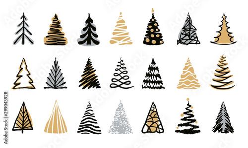 Cuadros en Lienzo Hand drawn doodle christmas tree set