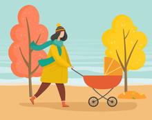Woman Strolling With Baby Pram...
