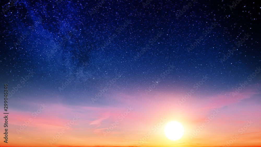 Fototapety, obrazy: Sunset sky with orange setting sun and red clouds landscape against bright star on black universe background. Wide panorama view of stars in space nature at dark time. Starry night at night wallpaper
