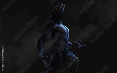 Fotografie, Tablou 3d Illustration of a werewolf on dark background with clipping path