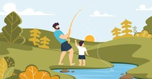 Father And Son Fishing On River In Forest Cartoon