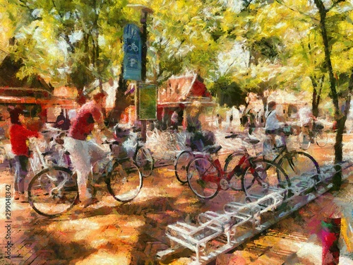 Fototapeta Public bicycle parking in the park Illustrations creates an impressionist style of painting. obraz na płótnie