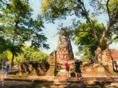 Fototapety, obrazy: Archaeological site in Ayutthaya Illustrations creates an impressionist style of painting.