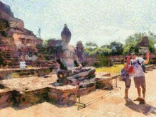 Archaeological Site In Ayutthaya Illustrations Creates An Impressionist Style Of Painting.