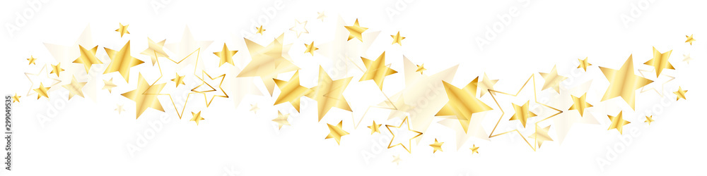 Fototapety, obrazy: Bordüre Große Und Kleine Glänzende Stern Gold