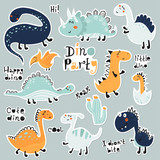 Fototapeta Dino - Cute cartoon set of dino stickers