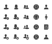 People Icons, Simple Flat Glyp...