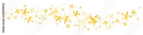 Fotografie, Obraz  Bordüre Große Und Kleine Glänzende Stern Gold