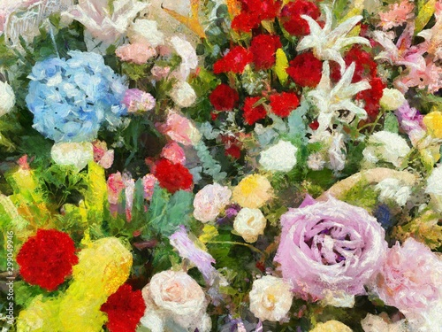 Garden Poster Floral Colorful flower bouquet Illustrations creates an impressionist style of painting.