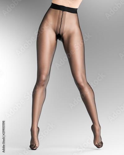 Long slender sexy legs woman nylon pantyhose. Wall mural
