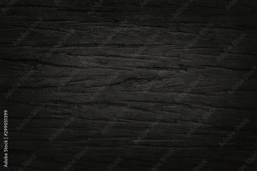 Fototapety, obrazy: Black wooden wall background, texture of dark bark wood with old natural pattern for design art work, top view of grain timber.