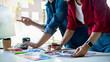 Leinwanddruck Bild - Advertising agency designer creative start-up team discussing ideas in office.