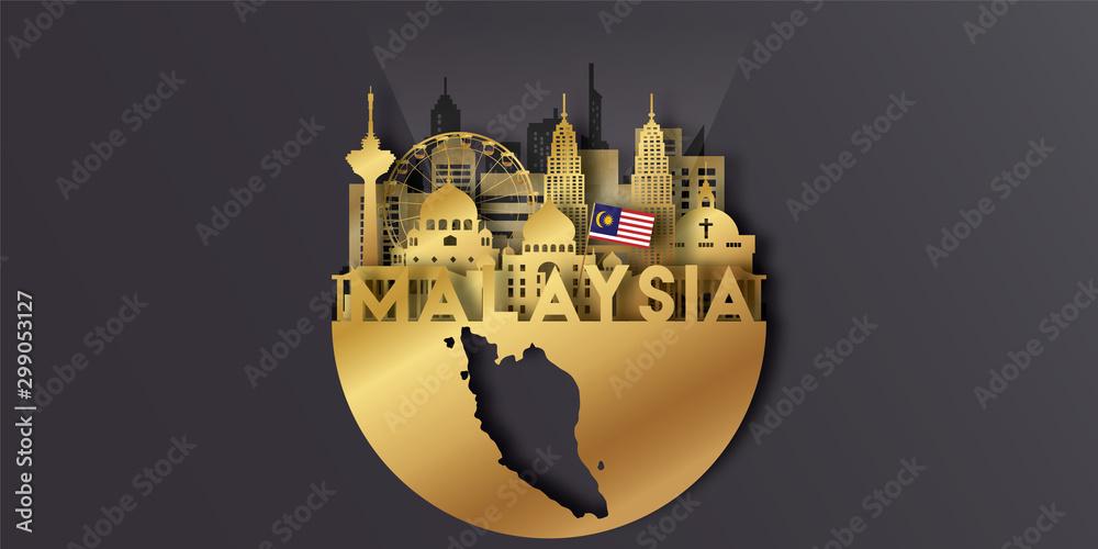 Fototapeta Malaysia Travel postcard panorama, poster, tour advertising of world famous landmarks in paper cut style.