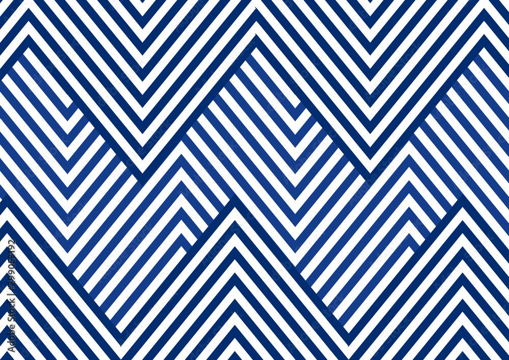 Fototapeta Abstract blue striped line serrated pattern on white background and texture.