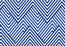 Abstract Blue Striped Line Serrated Pattern On White Background And Texture.
