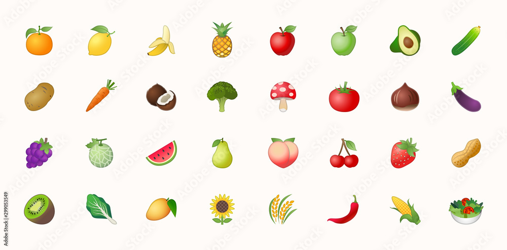 Fototapety, obrazy: Fruits vector icons set. Fruits are apple, lemon, banana, orange, pear, pineapple, grapes, cherries, strawberry, and blueberries emojis collections