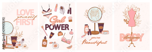 Pinturas sobre lienzo  Set of cute motivational and inspirational girl power posters with set of natural organic cosmetics products in bottles, jars, tubes for skin and lingerie