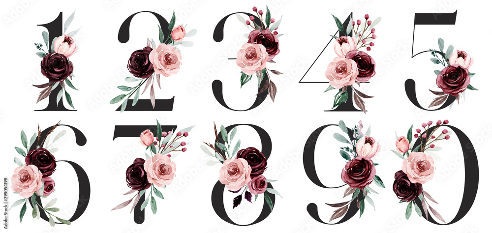 Fototapeta Numbers set with watercolor flowers roses hand painting. Perfectly for anniversary, wedding invitation, greeting card, logo, poster and other floral design. Isolated on white background.