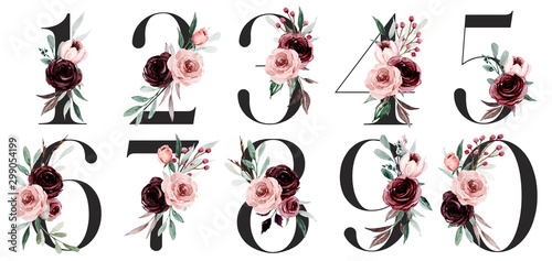 Obraz na plátně Numbers set with watercolor flowers roses hand painting