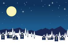 シームレスな雪景色の町並み