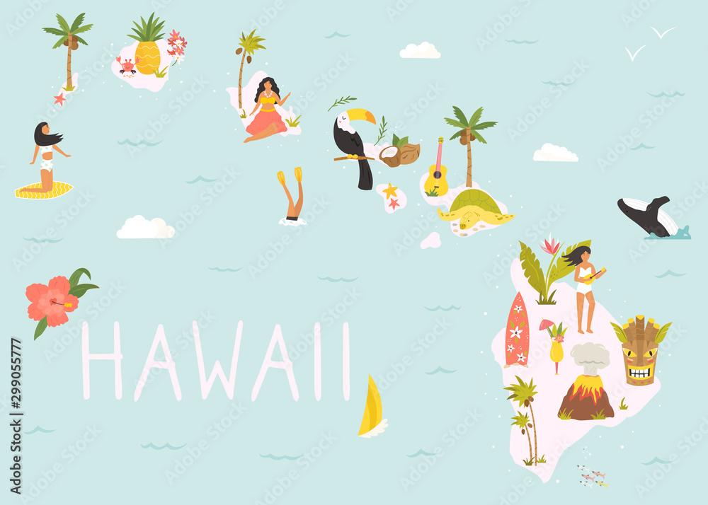 Fototapeta Hawaiian map with icons, characters and symbols.