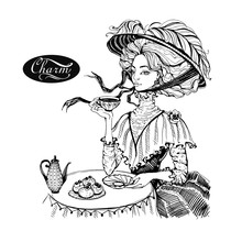Beautiful Vintage Lady. Girl In A Hat Drinking Tea. Charm. Graphics. Vector