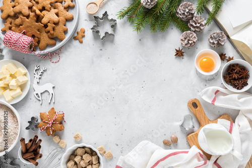 Christmas or Xmas baking culinary background Wallpaper Mural