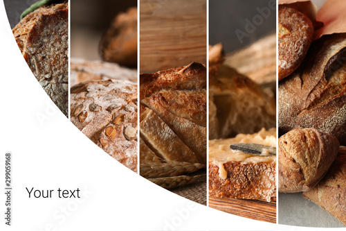 Tuinposter Brood Collage of photos with fresh bread and space for text