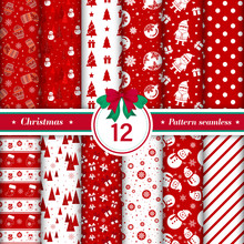 Merry Christmas Pattern Seamless Collection. Set Of 12 Red And White X-mas Winter Holiday Background. Endless Texture For Gift Wrap, Wallpaper, Web Banner Background, Wrapping Paper And Fabric Pattern