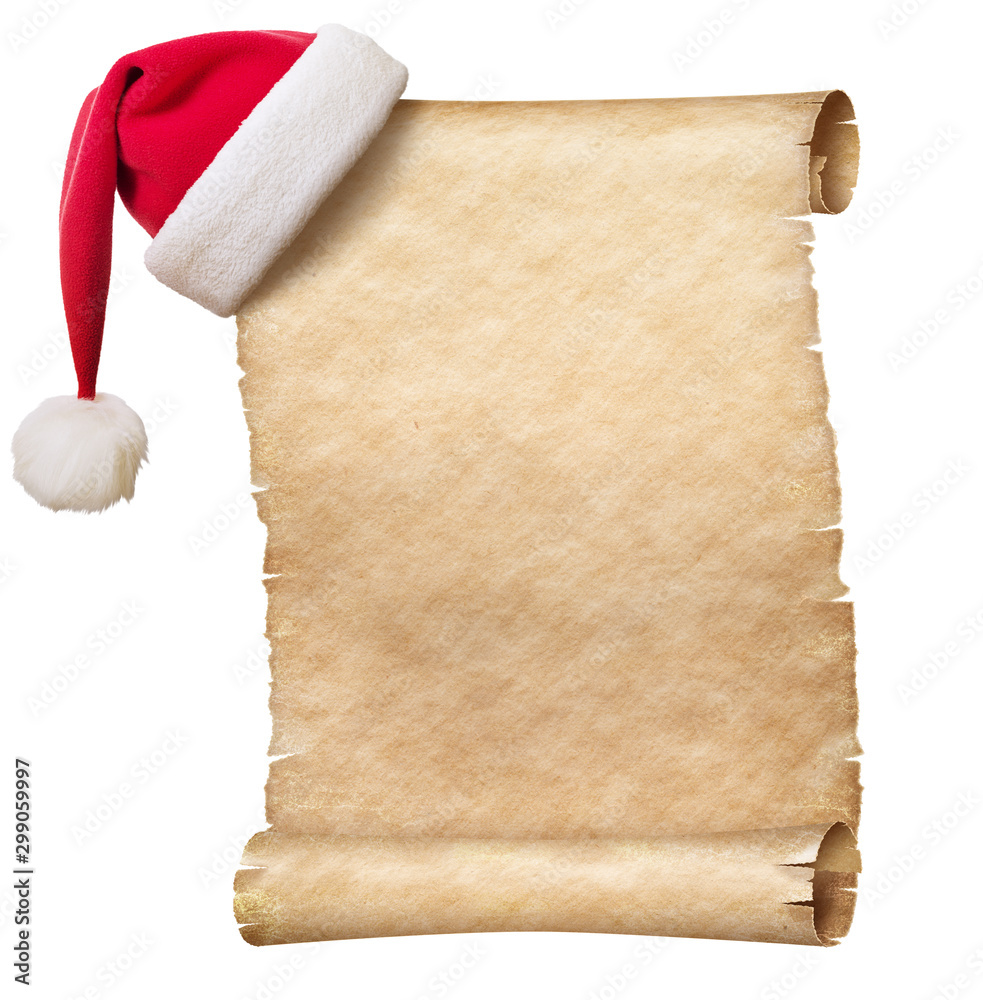 Fototapeta Old paper scroll and christmas hat isolated on white