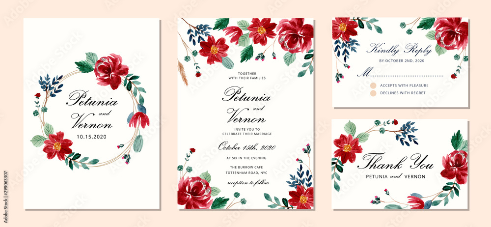 Fototapeta wedding invitation set with beautiful red floral watercolor background