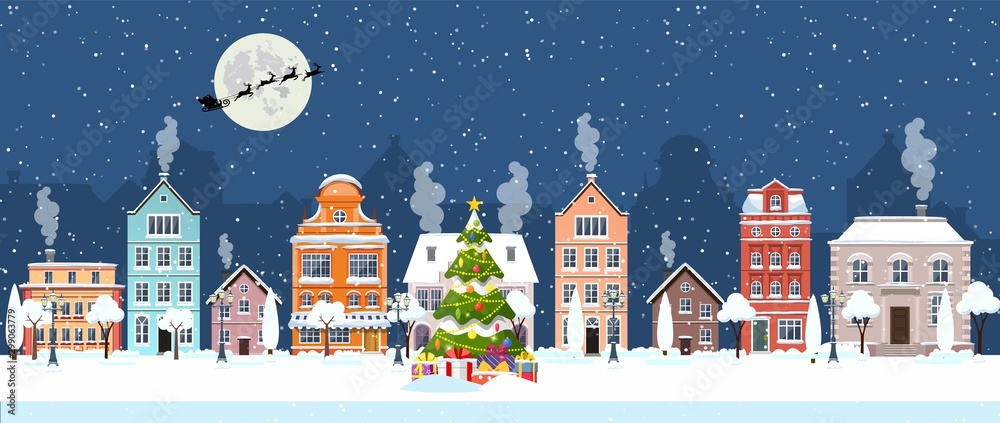 Fototapeta happy new year and merry Christmas winter old town street. christmas town city panorama. Santa Claus with deers in sky above the city. Vector illustration in flat style