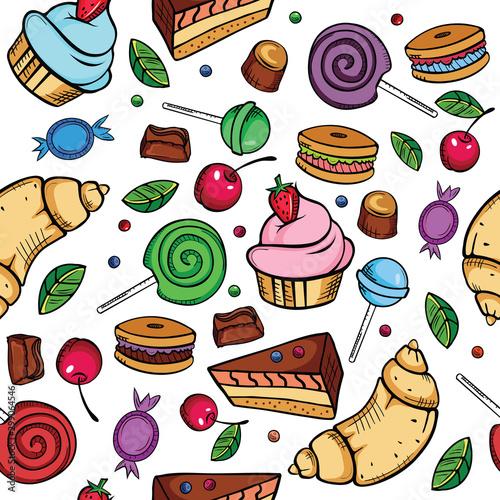 Obraz na plátně  Sweet candies seamless pattern on white background