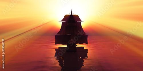 Foto auf Gartenposter Ziegel old ship sunset at sea