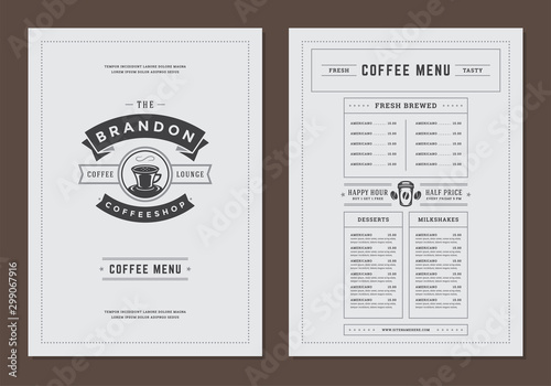Stampa su Tela  Coffee menu template design flyer for cafe with coffee shop logo mug symbol and retro typographic decoration elements