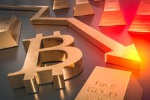 Golden Bitcoin Symbol And Arrow Down - Bitcoin Money Fall Concep